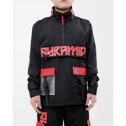 Black Pyramid Clear Pocket Strapped Pullover Black Jacket
