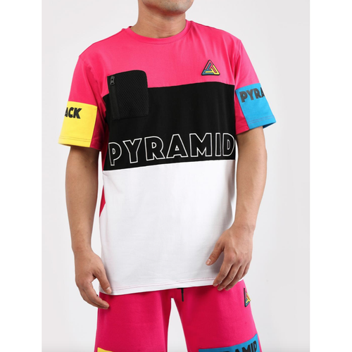 Black Pyramid Blocks Pink Tee