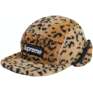 Supreme Leopard Polar Fleece Earflap Camp Cap - Gold (Size M/L)