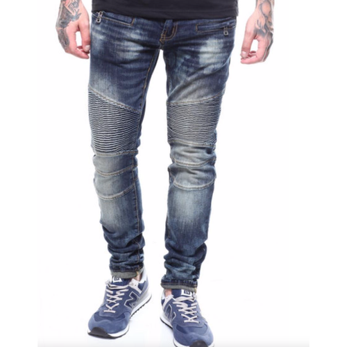 PREME Indigo Dark Blue Wash Biker Denim Jeans