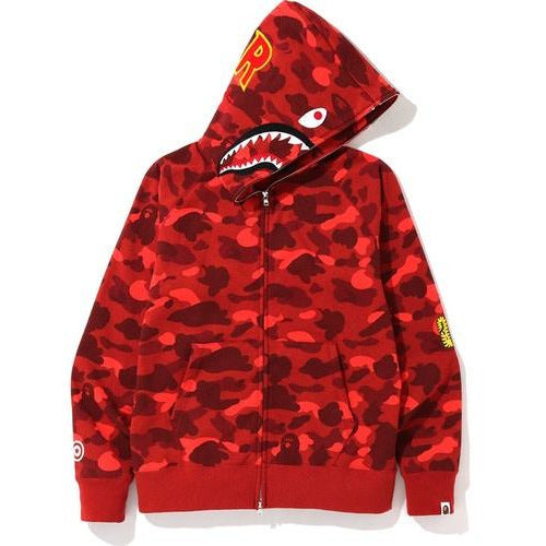BAPE Color Camo PONR Shark Full Zip Hoodie - Red
