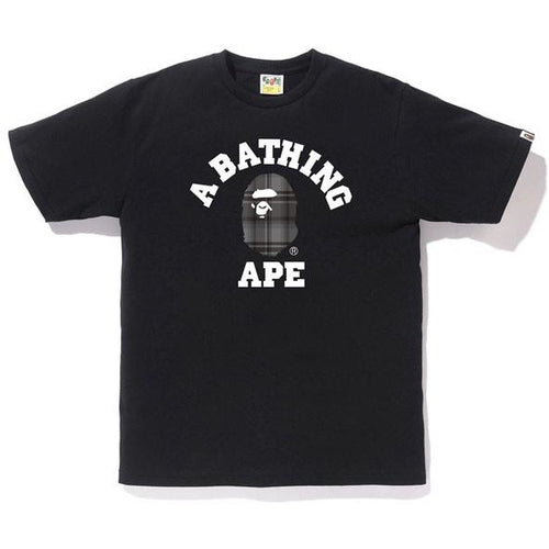 BAPE Check College Tee - Black/Black
