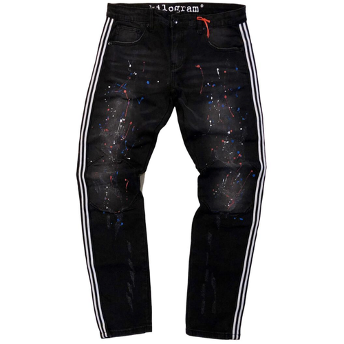 Kilogram Faded Black Side Stripe Painted Denim Jeans (KG10027S)