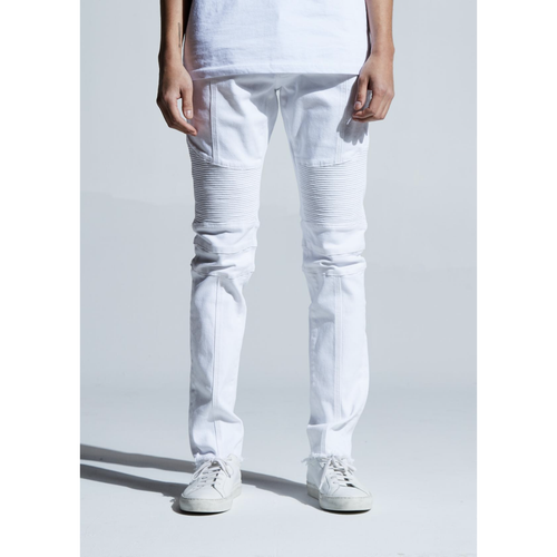 Embellish White Beasley Biker Denim Jeans
