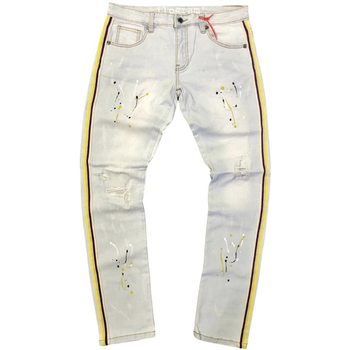Kilogram Light Blue Paint Splatter Side Stripe Denim Jeans (KG10046S-YGP)