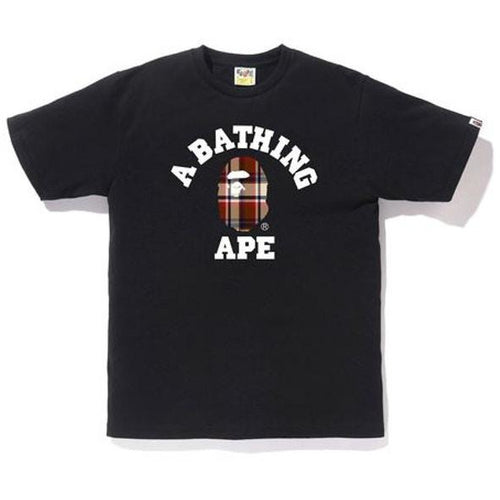 BAPE Check College Tee - Black/Red