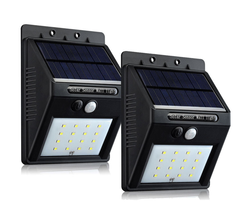 16 LED Outdoor Solar Powered Wireless Waterproof Security Motion Sensor Light - 2pc