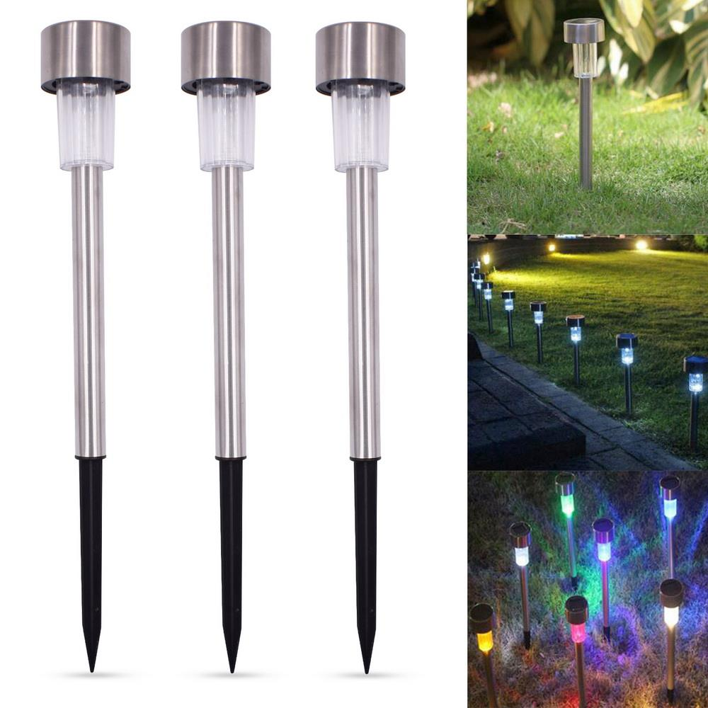 10Pcs Landscape Lights, Solar Power RGB LED Path Lighting Outdoor Garden Lawn Lamp Colorful Stainless Steel