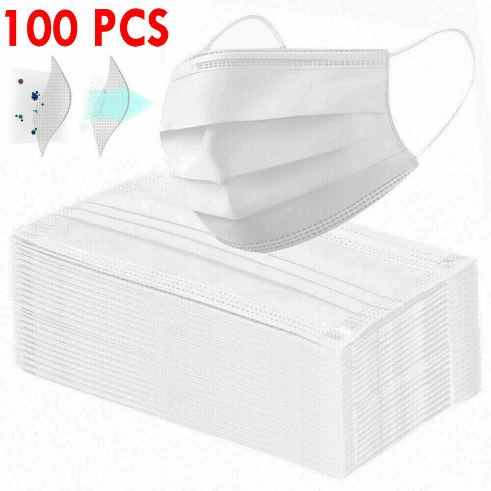 20 PCS X Disposable 3 Layer Face Mask 95% Filtration Anti-Dust Mouth Cover White