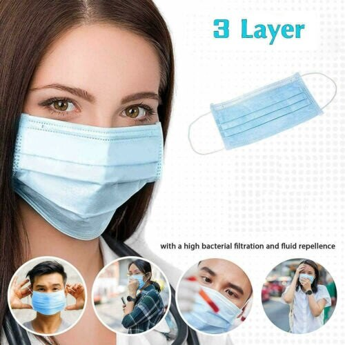 2000 PCS XDisposable Face Mask 3Ply Medical Hygiene Masks with Elastic Ear Loops