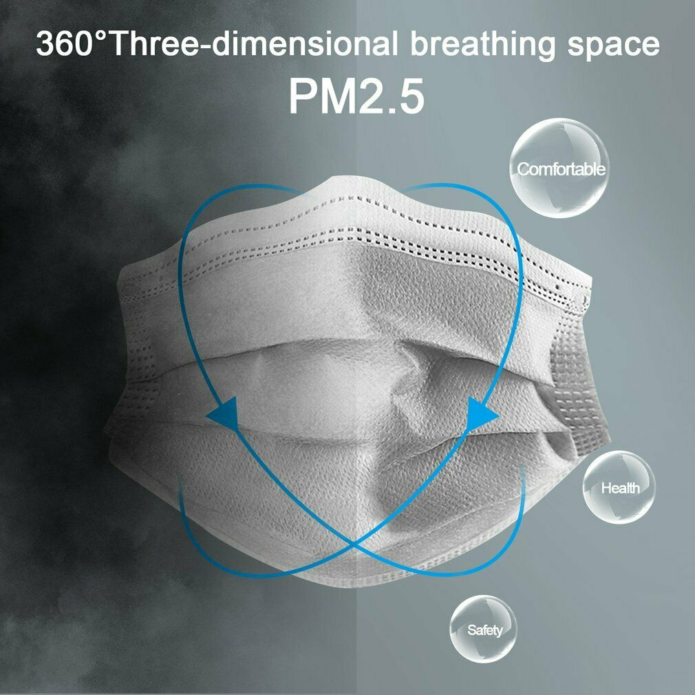 50 x Pcs Disposable 3 Layer Face Mask 95% Filtration Anti-Dust Mouth Cover White