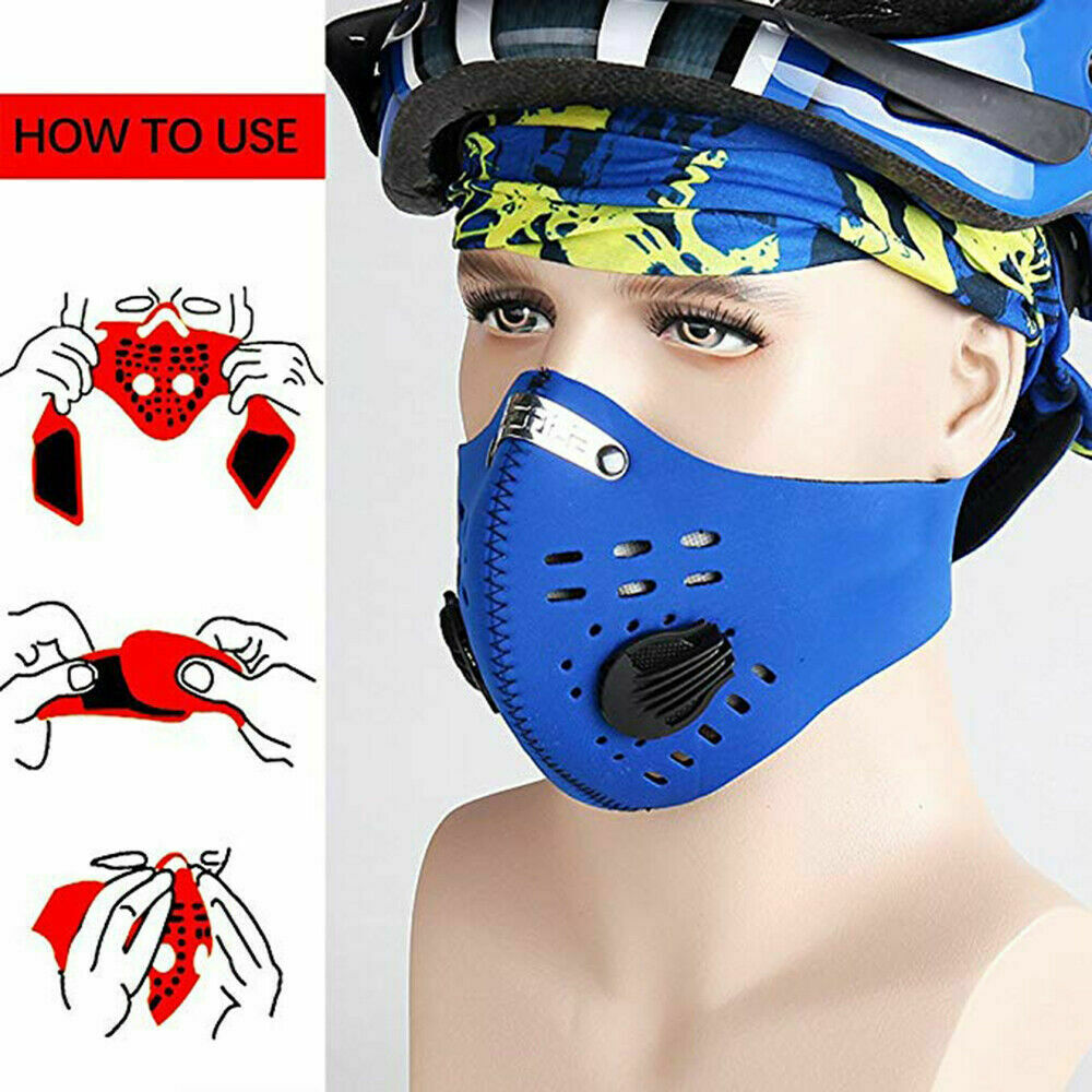 1 x Washable Mouth Anti Dust Face Cover with Activated Filter Cover Reusable - Blue