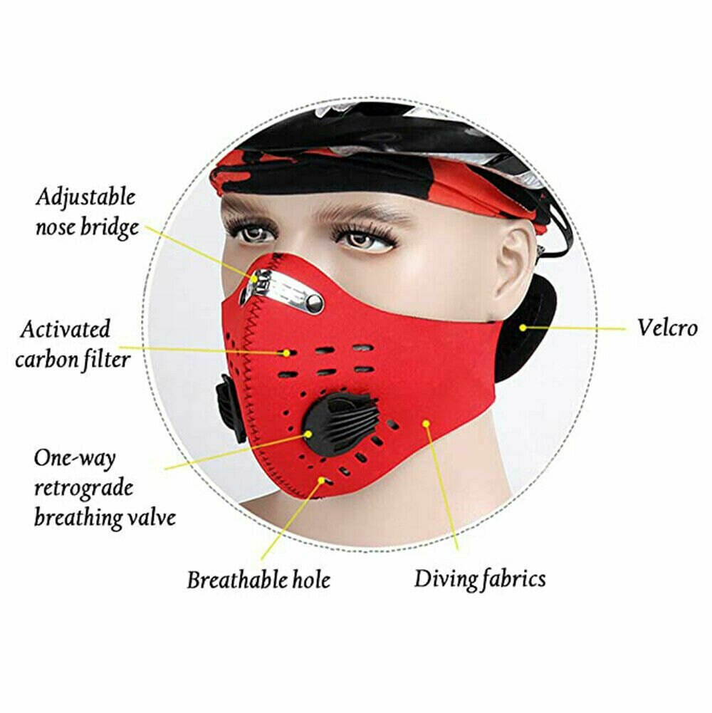 1 x Washable Mouth Anti Dust Face Cover with Activated Filter Cover Reusable - Red