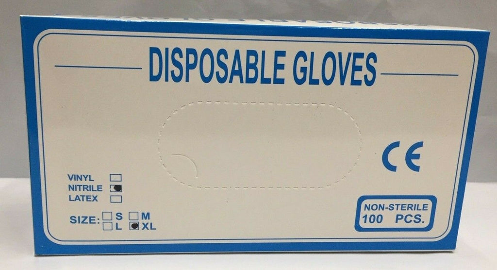 200 x Nitrile Disposable Gloves, Non-Sterile, Single Use, Powder Free S: Large