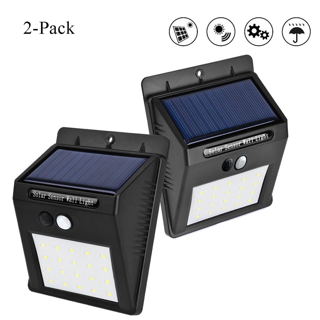 (2 Pack) Solar Outdoor Lights, 20 LED Waterproof Solar Powered Motion Sensor Light with 3 Modes Outdoor Security Lights Wireless Wall Lamp for Porch Patio Garden Path Outside