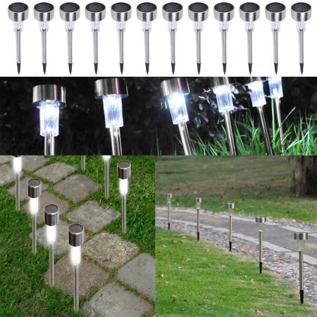 24PCS Landscape Garden Yard Path Lawn Stainless Steel LED Solar Power Waterproof Light White Color Changing With Spikes