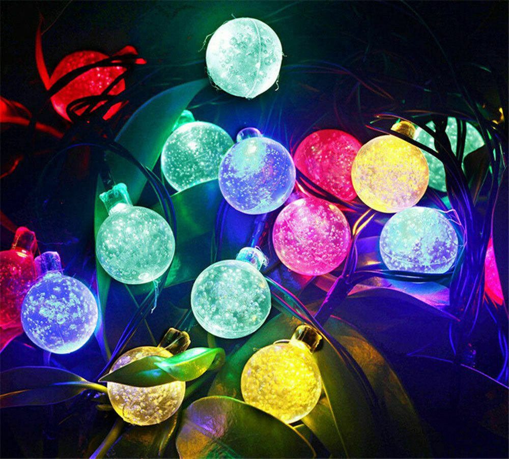 20ft 30 LED Solar String Ball Lights Outdoor Waterproof Garden Decor multi color