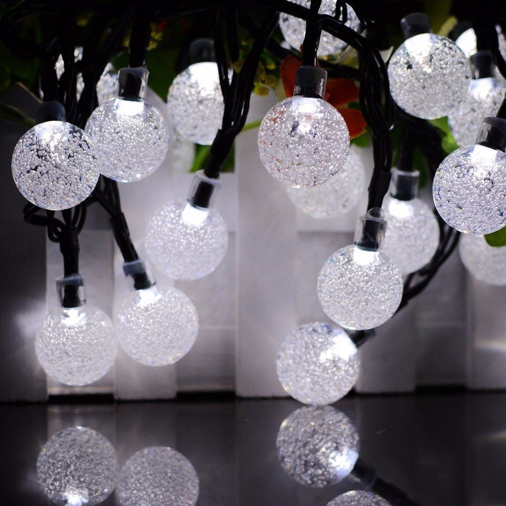 20ft 30 LED Solar String Ball Lights Outdoor Waterproof Garden Decor Cold White