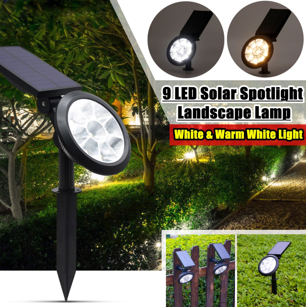 1 Pcs 9 LED Solar Landscape Spotlights, IP67 Waterproof Solar Powered Wall Lights 2-in-1 Wireless Outdoor Solar Landscaping Light for Yard Garden Driveway Porch Walkway Pool Patio