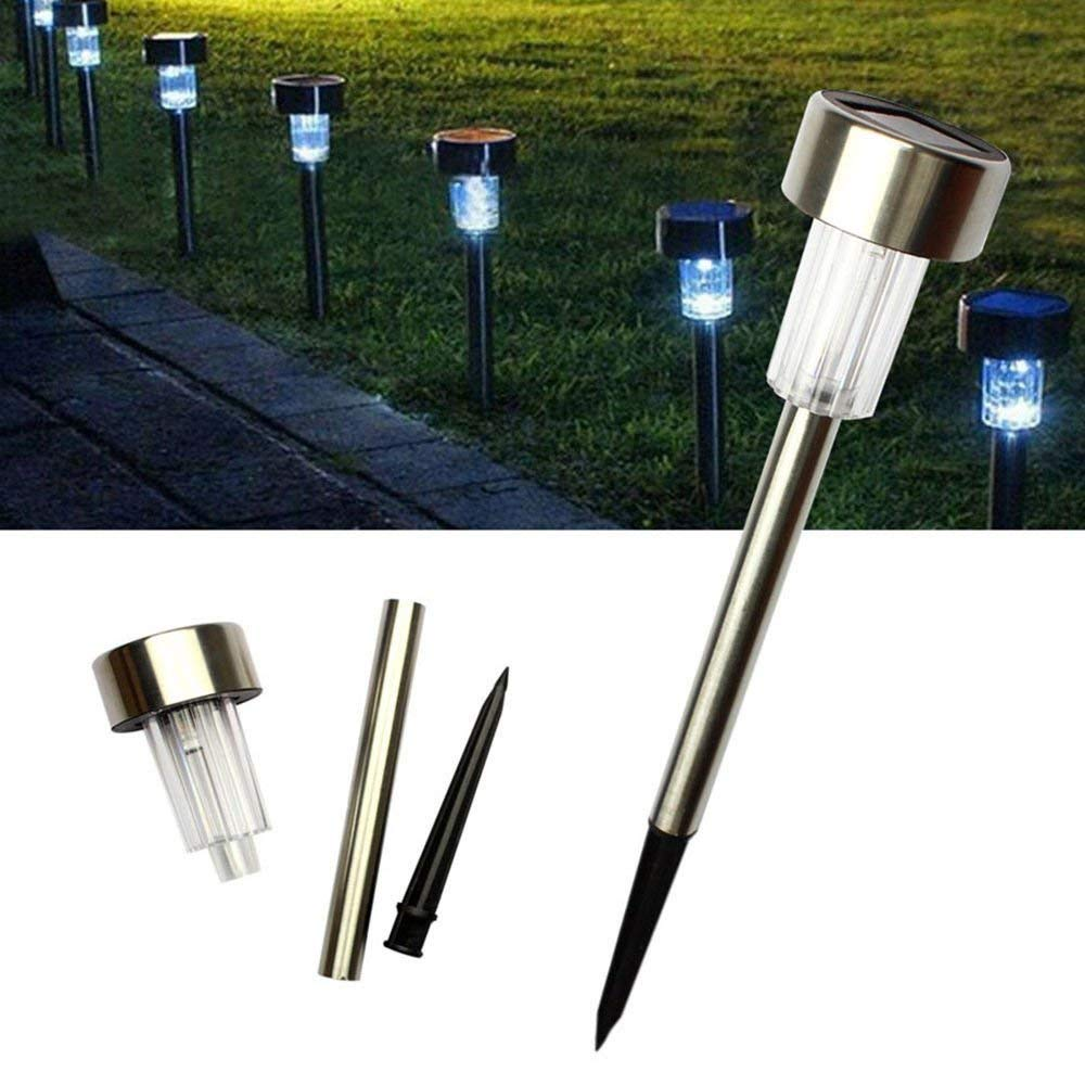 24pcs Solar Power LED Lawn Lamps Landscape Lights with Lampshades 5W High Brightness Yard Lights For Garden, Ground Path, Walkway, & Driveway White