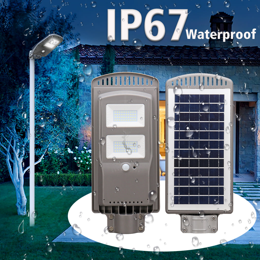 40W LED Solar Street Lights Waterproof IP67 Security Lamp High Brightness Outdoor Dusk to Dawn All in One Solar Powered Street Light Intelligent Time Switch Control For Garden