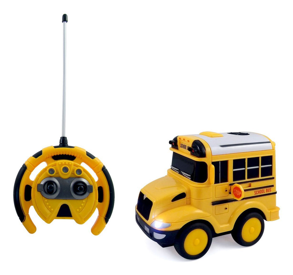 IBOT School Bus Remote Controlled RC Toy Car For Kids With Steering Wheel Remote, Lights and Sounds