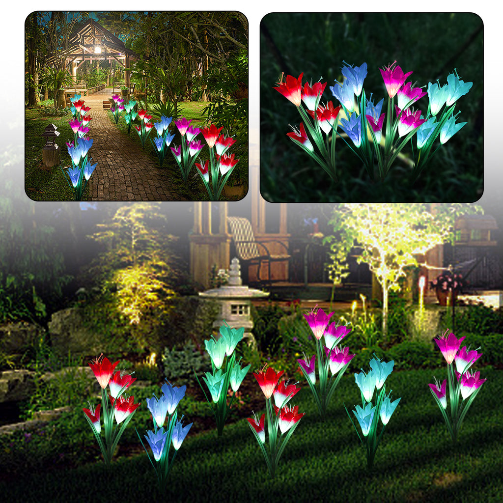 2 Pack Outdoor Solar Garden Stake Lights - TSV Solar Powered Lights with 8 Lily Flowers, Multi-Color Changing LED Solar Decorative Lights for Garden, Patio, Backyard Decorations (Purple and White)