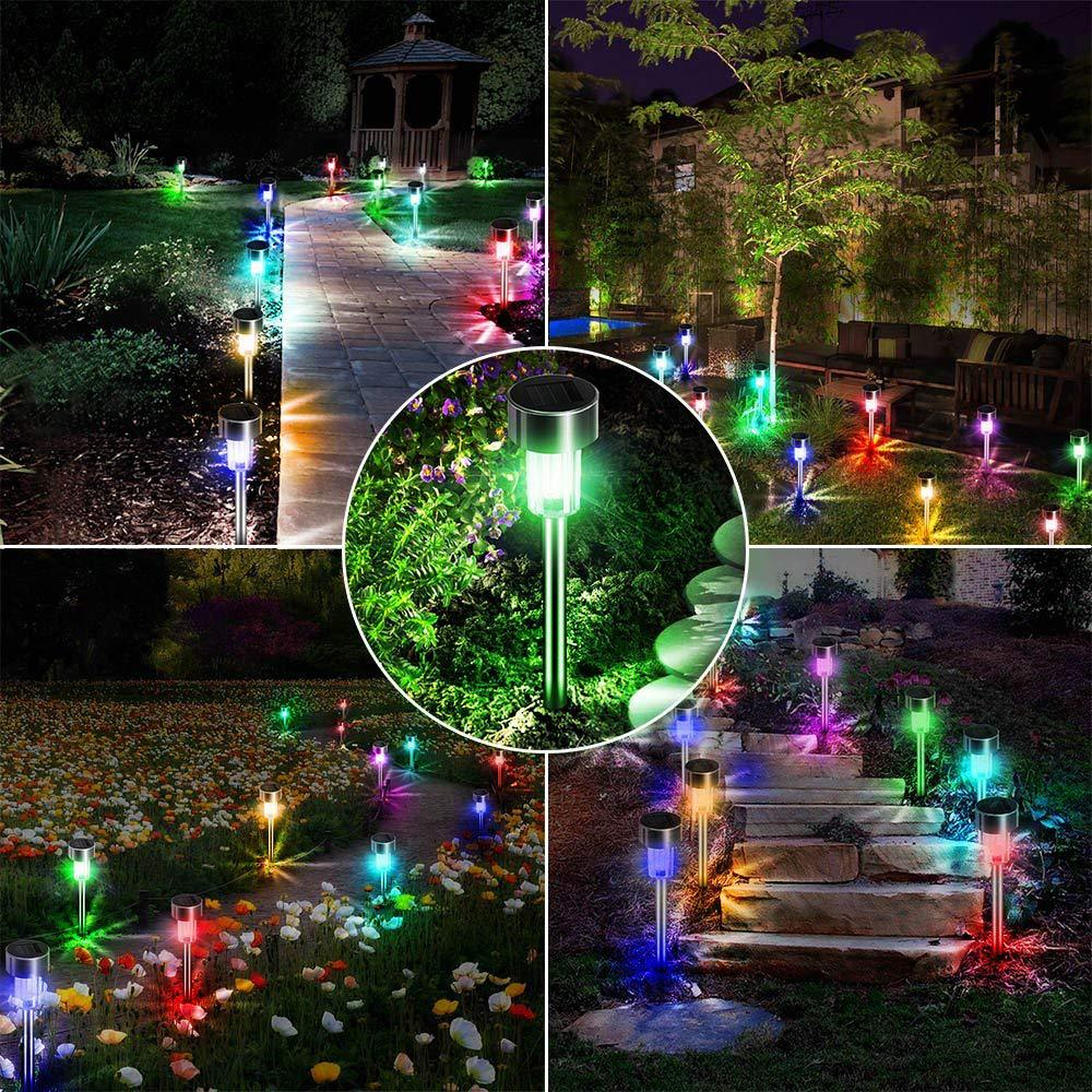 10pcs Solar Garden Lights/Path Lights Steel Led Pathway Landscape Lighting for Patio, Yard Christmas Gift