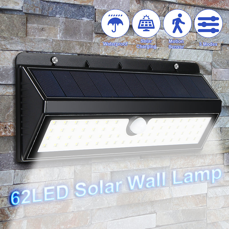 62 LED Solar Flood Lights Outdoor, 3 Modes, Waterproof IP65, Wireless Security Wall Night Lights for Outdoor Wall, Back Yard, Fence, Garage, Garden, Driveway