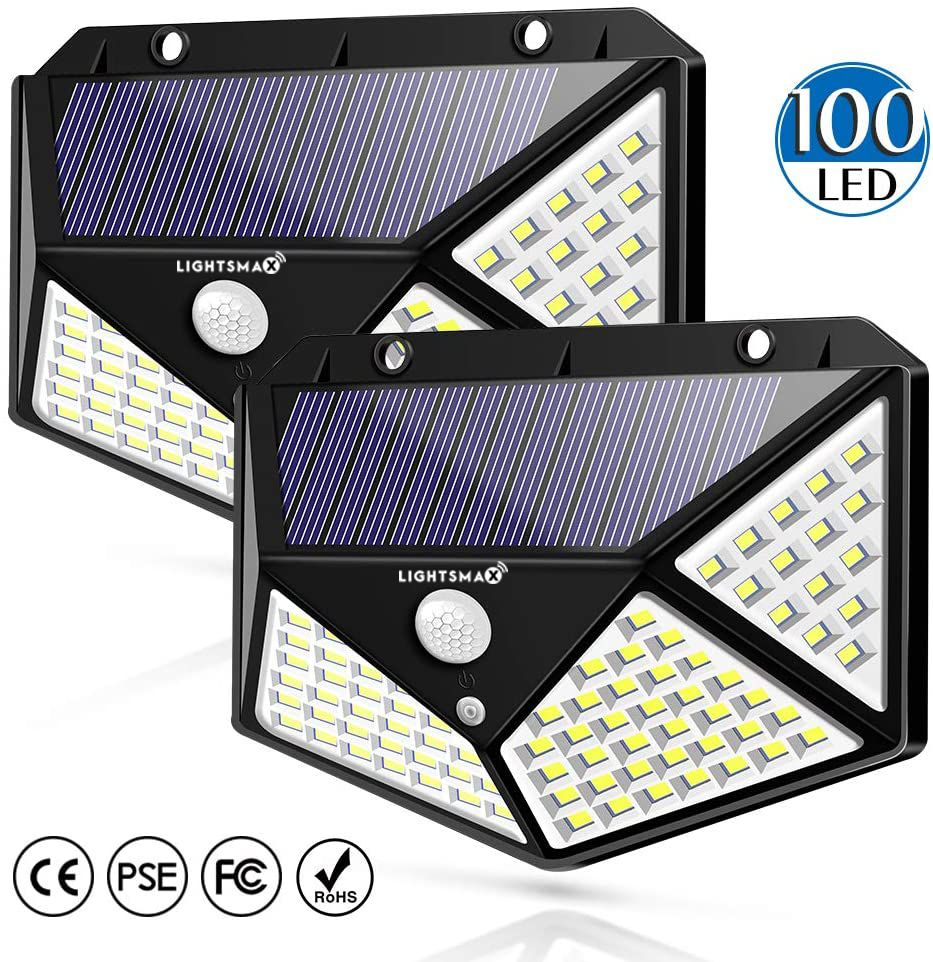 100 Led Solar Motion Sensor Lights Outdoor, LIGHTSMAX Wireless Weatherproof Solar Powered Lights for Steps Yard Garage Porch Patio, IP65 Waterproof with Wide Angle (2 Pack)