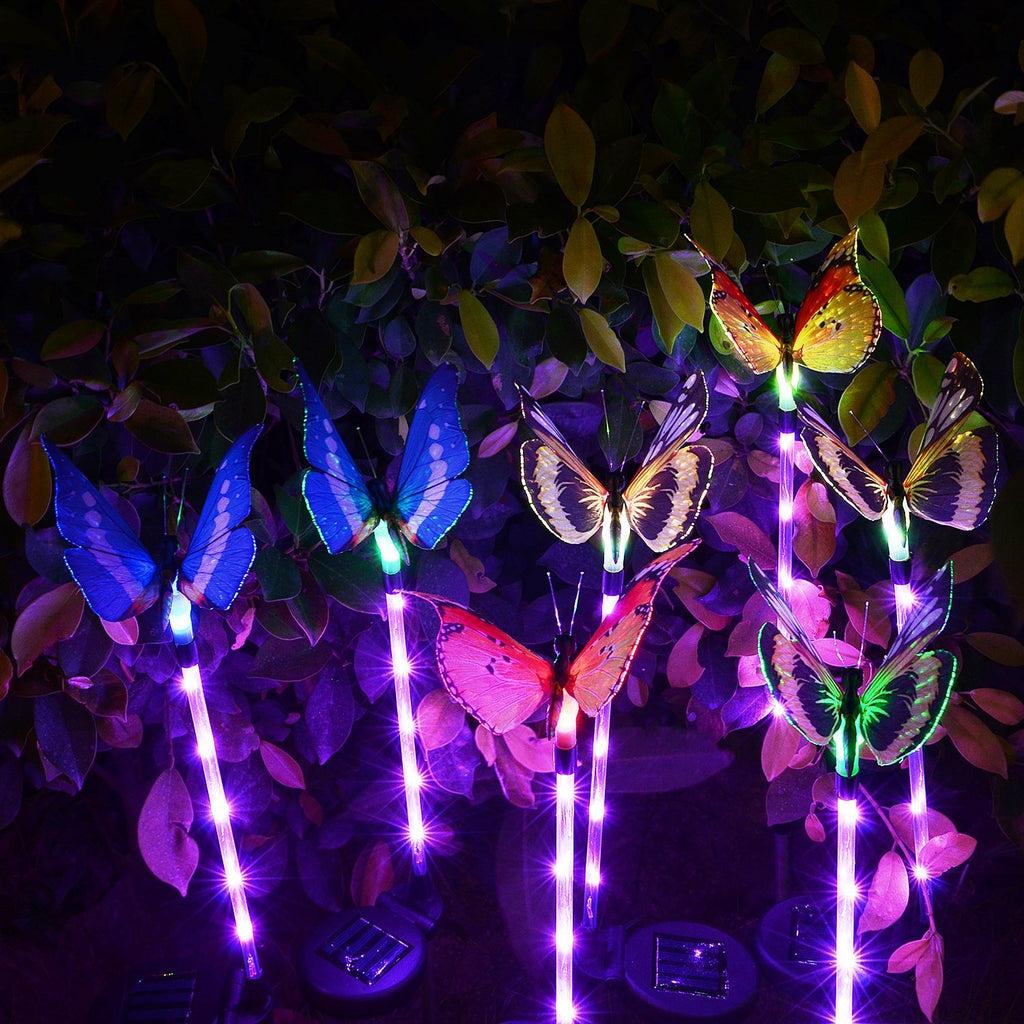 Butterfly Garden Solar Lights Outdoor, 3 Pack LED Color Changing Stake Lights, Solar Powered Optic Fiber Decorative Lighting, Yard Art, Garden Decorations, Housewarming Gifts.