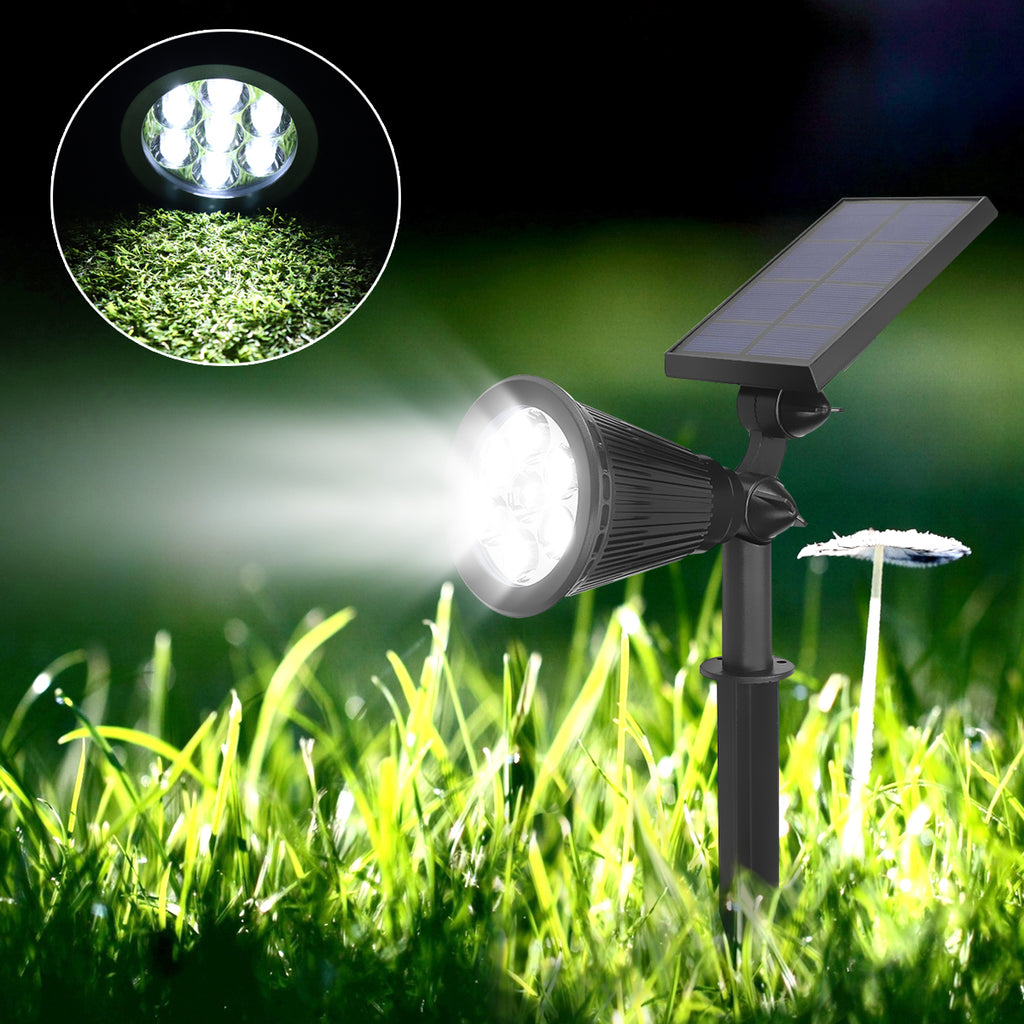 2Pcs 7 LED Path Light Waterproof Solar Powered Spotlight for Garden Pool Pond Yard