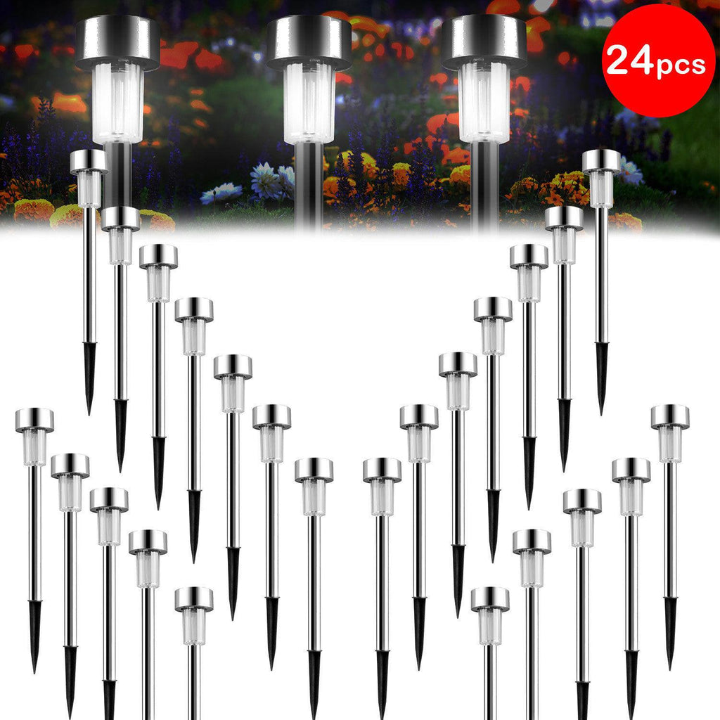 24 PCS Garden Outdoor Stainless Steel LED Solar Landscape Path Lights Lamp,White & Silver