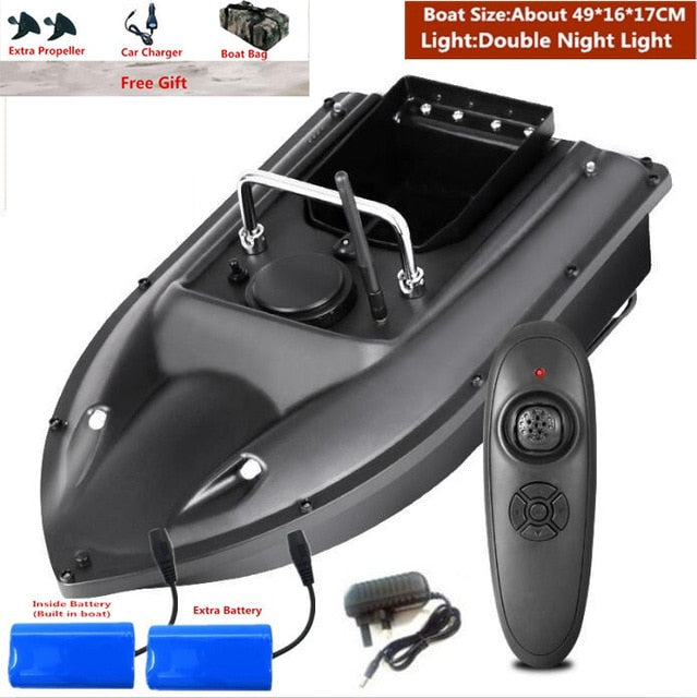 New Function Fixed Speed Cruise Remote Control Fishing Finder Boat 1.5KG 500M Dual Night Light Lure Fishing Smart RC Bait Boat