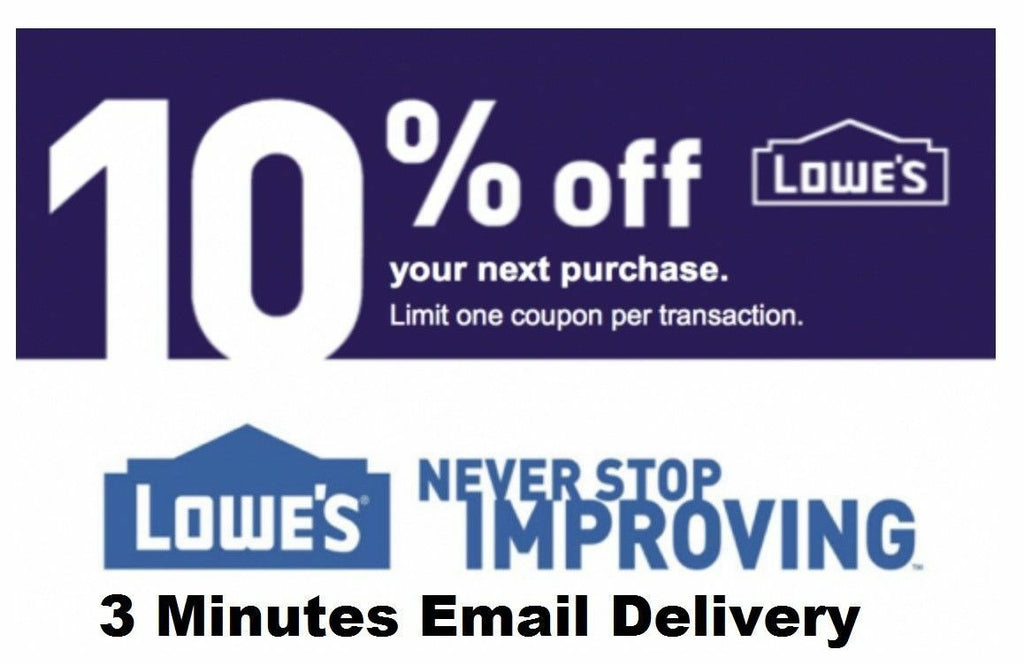 EIGHT 8 X Lowe's 10% OFF Promotion Discount - in-store at Lowe's competitors - Free Shipping