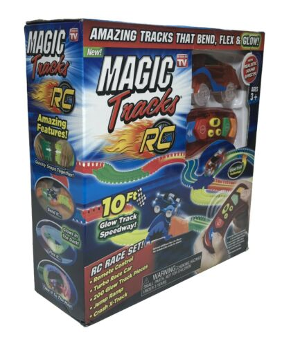 netjett Magic Tracks RC Remote Control Turbo Race Cars, Bendable Glow in the Dark