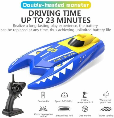 H128 Rc Boat 2.4GHz Remote Control Speed Mini Boat Dual Motors 15km/h 20min