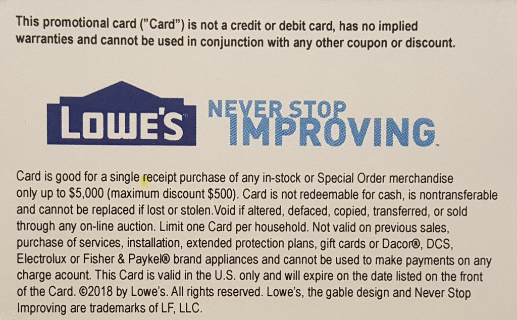 ONE  1 X LOWE'S 10% OFF Promotion Discount - in-store at Lowe's competitors