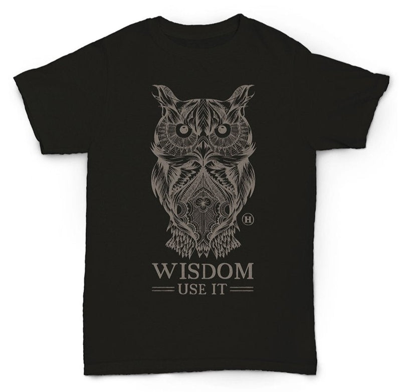 Hemp T Shirt Totem Series Owl Black