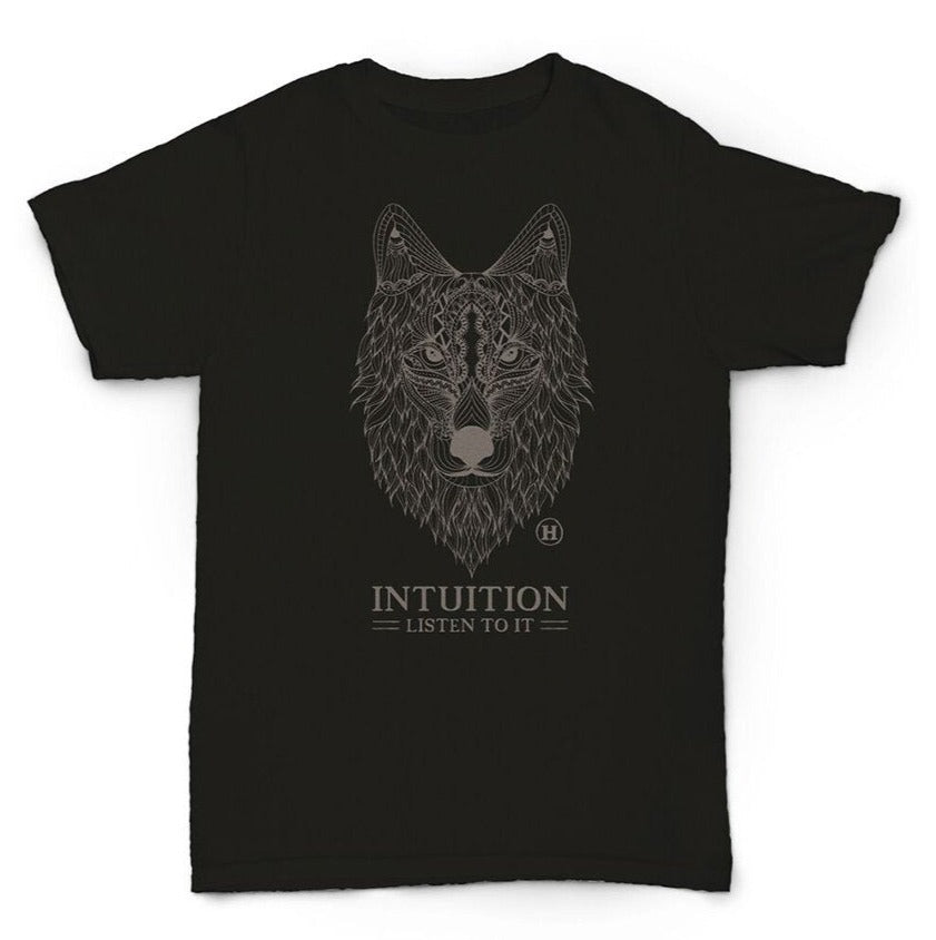 Hemp T Shirt Totem Series Wolf Black