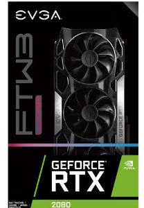 EVGA GeForce RTX 2080 Graphic Card, FTW3 Ultra Gaming Graphic Card, 8 GB GDDR6, 1860 MHz, 256 bit Memory Bus Width, DisplayPort, HDMI, USB Type-C - 08G-P4-2287-KR