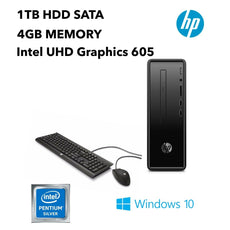 HP 290-a0020 Slim Desktop PC, Intel Pentium Silver J5005, 1.50GHz, 4GB RAM, 1TB HDD, Windows 10 Home 64-Bit- 3LA08AA#ABA