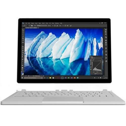 "Microsoft 13.5"" PixelSense (Touchscreen) Detachable Surface Book, Intel Core i5-6300U, 2.40Ghz, 8GB RAM, 256GB SSD, Windows 10 Pro-64Bit, Silver- FGJ-00001"