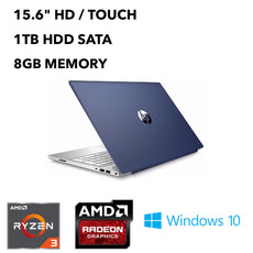 "HP Pavilion 15-cw0007ca 15.6"" HD (Touchscreen) Notebook, Ryzen 3 2200U, 2.50 GHz, 8GB RAM, 1TB HDD, Windows 10 Home 64Bit- 4BP81UA#ABL (Refurbished)"