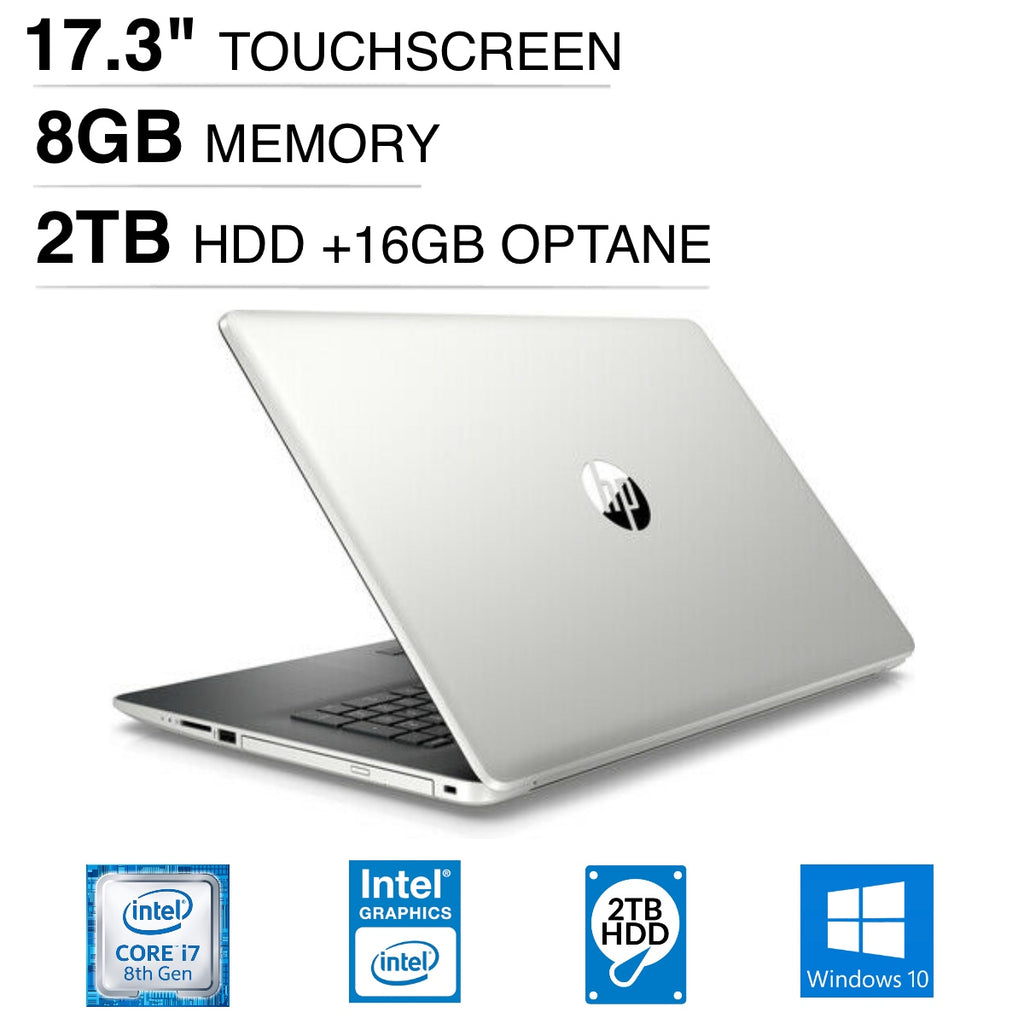 "HP 17-by0087cl 17.3"" HD+ (Touchscreen) Notebook, Intel Core i7-8550U, 1.80GHz, 8GB RAM, 2TB HDD, 16 GB Optane Memory, Windows 10 Home 64-Bit- 4WJ85UA#ABA (Certified Refurbished)"