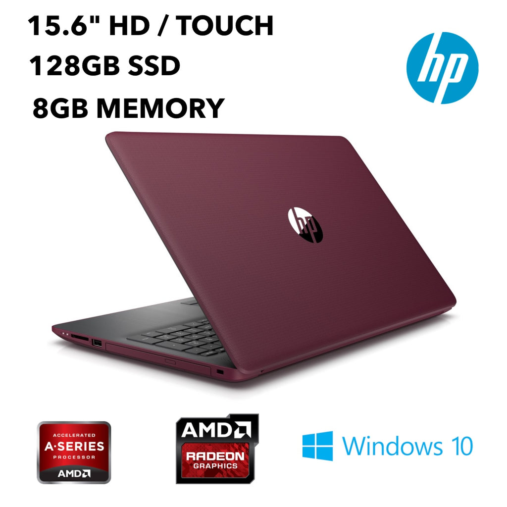 "HP 15-DB0005DS (Touchscreen) Notebook, 15.6"" HD, AMD A9-9425, 3.10GHz, 8GB RAM, 128GB SSD, Windows 10 Home 64-Bit-5SM45UA#ABA"