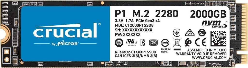 Crucial P1 M.2 Internal 2TB Solid State Drive, 3D NAND NVMe PCIe SSD - CT2000P1SSD8
