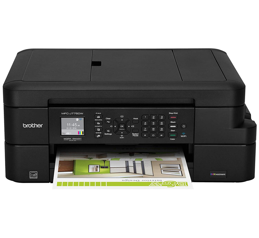 Brother MFC Inkjet All-in-One Color Printer, INKvestment Cartridges, 128MB Memory, Wireless, Color LCD Display - MFC-J775dw