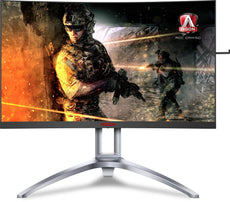 "AOC AGON 35"" UltraWide Quad HD Curved Gaming Monitor, WLED Display, 4MS-Response, 21:9, 2.5K:1-Contrast, Tilt/Swivel/Height-adjustment, Speakers, Silver - AG352UCG6-B (Certified Refurbished)"