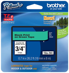 Brother TZE Flat Surface Laminated Tape, Black on Green Tape for P-Touch Labelers, Thermal Transfer, Direct Thermal - TZE741